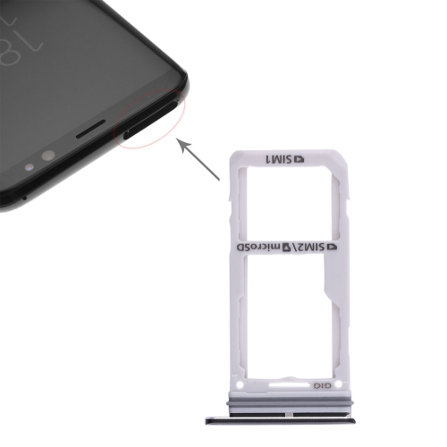 2 SIM Card Tray / Micro SD Card Tray for Galaxy S8 / S8+(Black)